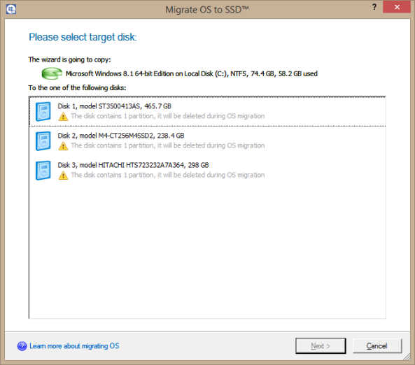 Migrate OS to SSD Select Screen (post migration obviously)