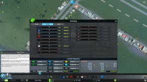 The budget tab let's you increase or decrease the budget of your various city services. You can only increase or decrease them by 50%. If you want to eliminate a service expense all together, you will need to close individual buildings on their information pop-up.