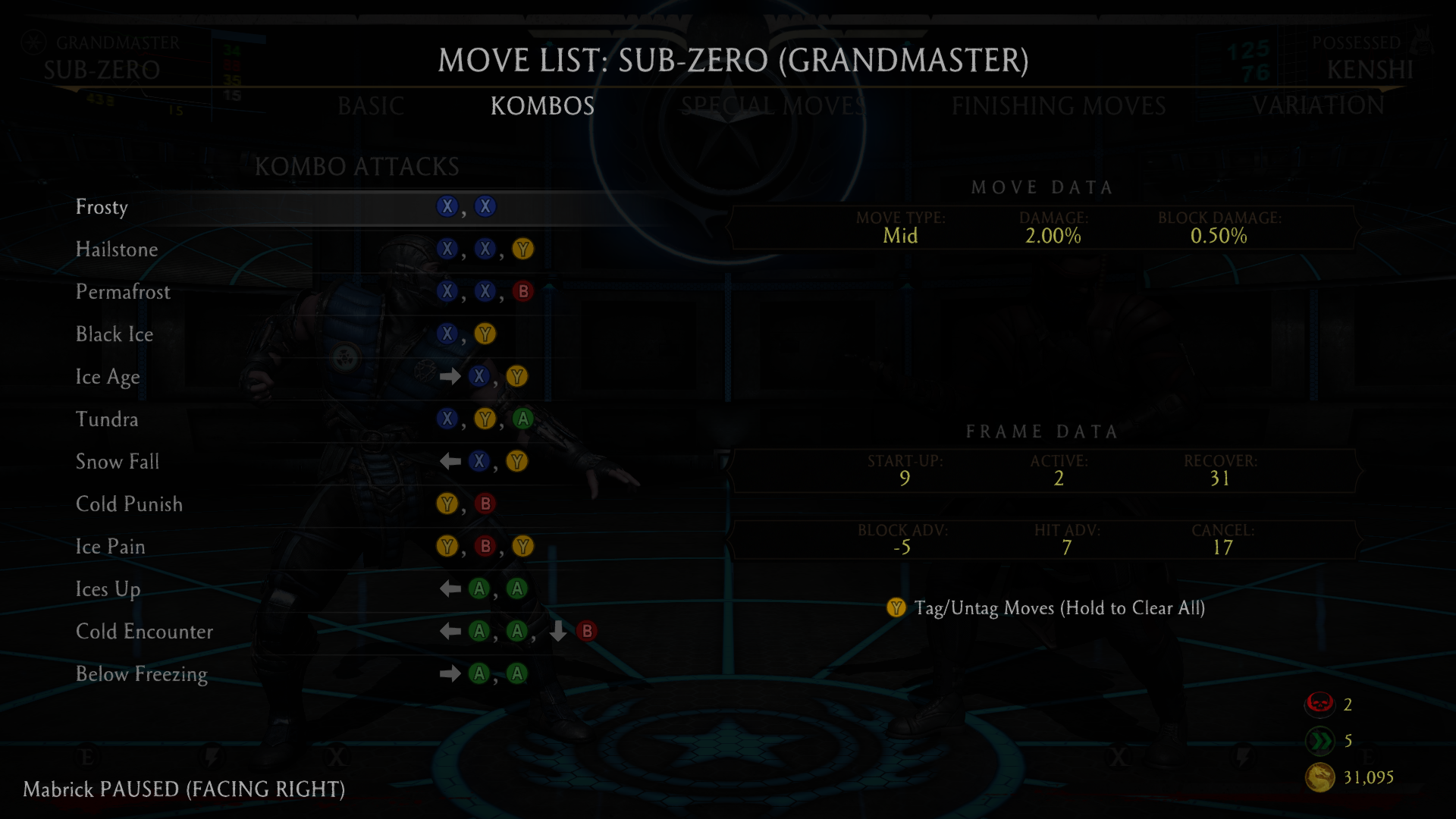 Sub-Zero Kombos Screen