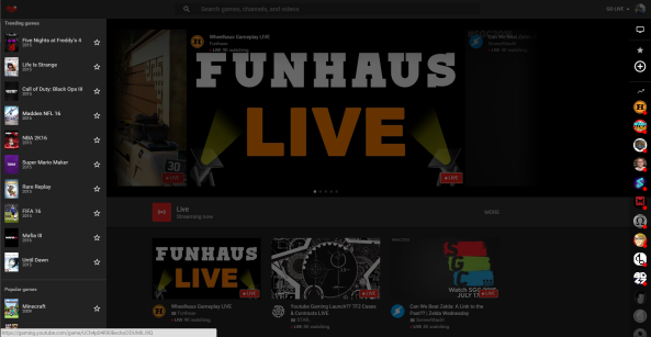 YouTube Gaming Left Side Navigation Strip